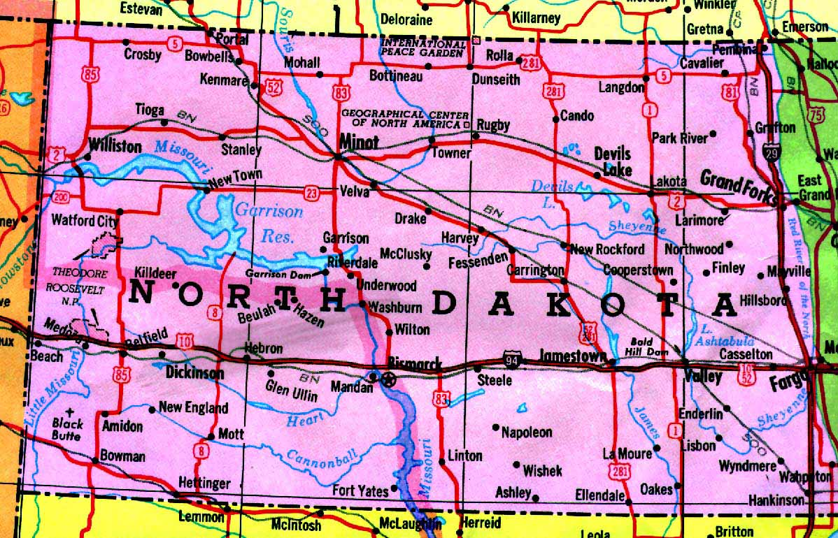free map of north dakota counties size141.0KB