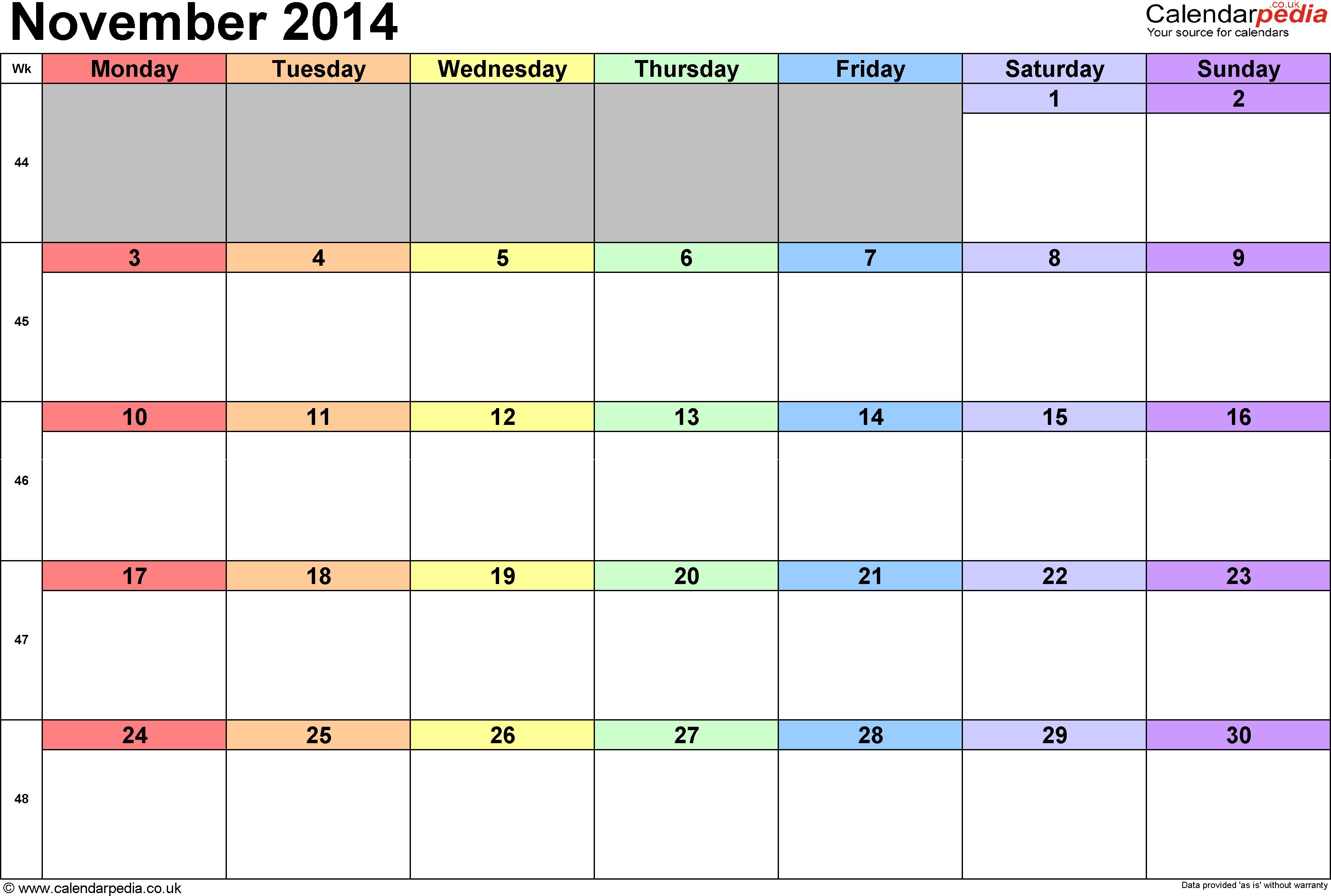 free november 2014 calendar with holidays size113.7KB