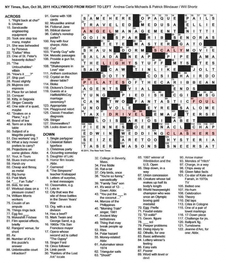 sunday ny times crossword answers clues size17.1KB